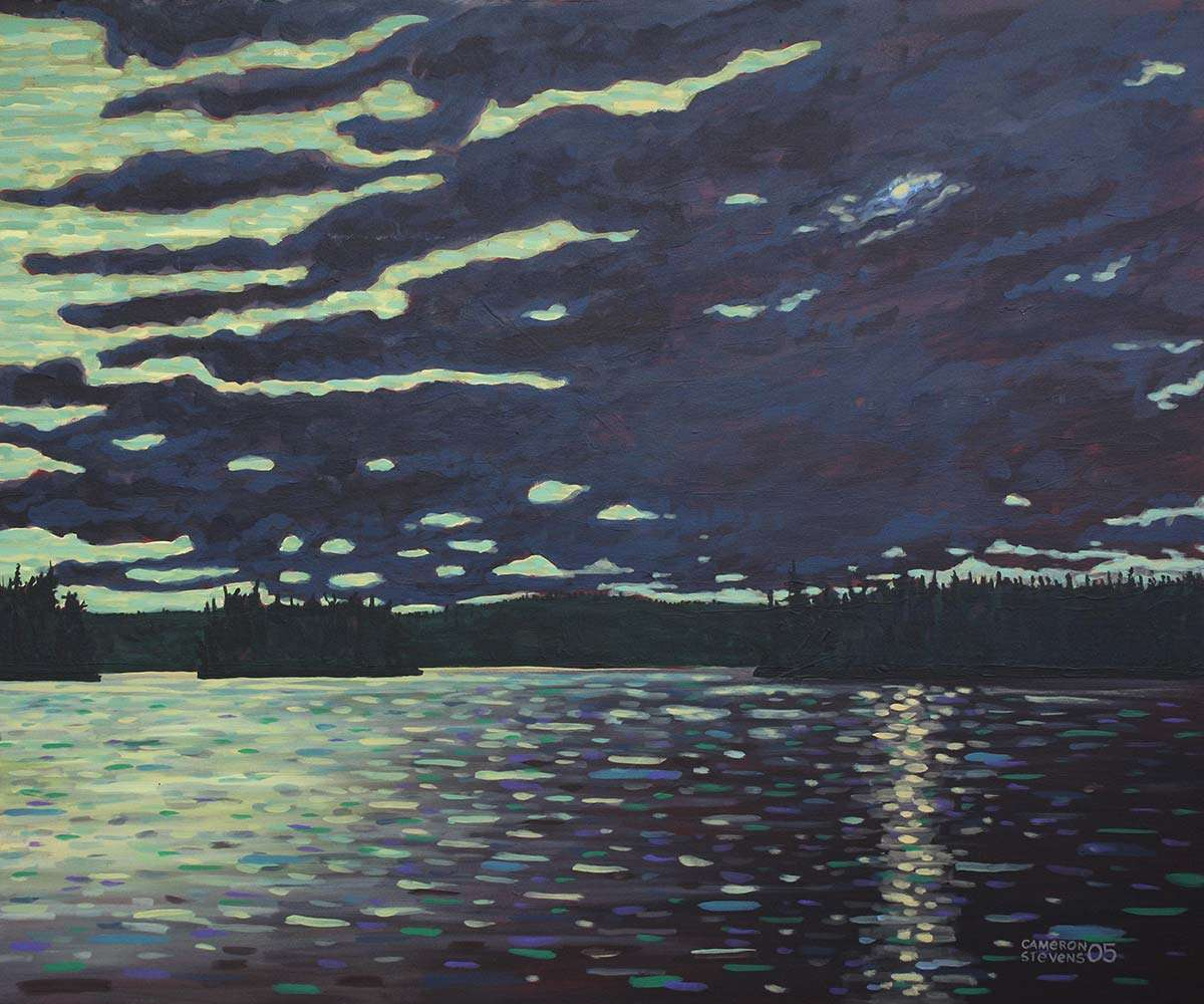 Moonlight - McIntosh Lake painting by C. Stevens