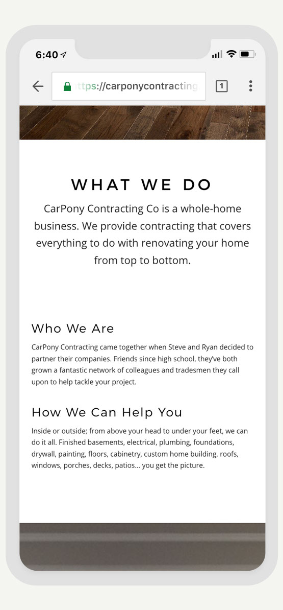 CarPony Contracting Co. site design and build by Cam Stevens