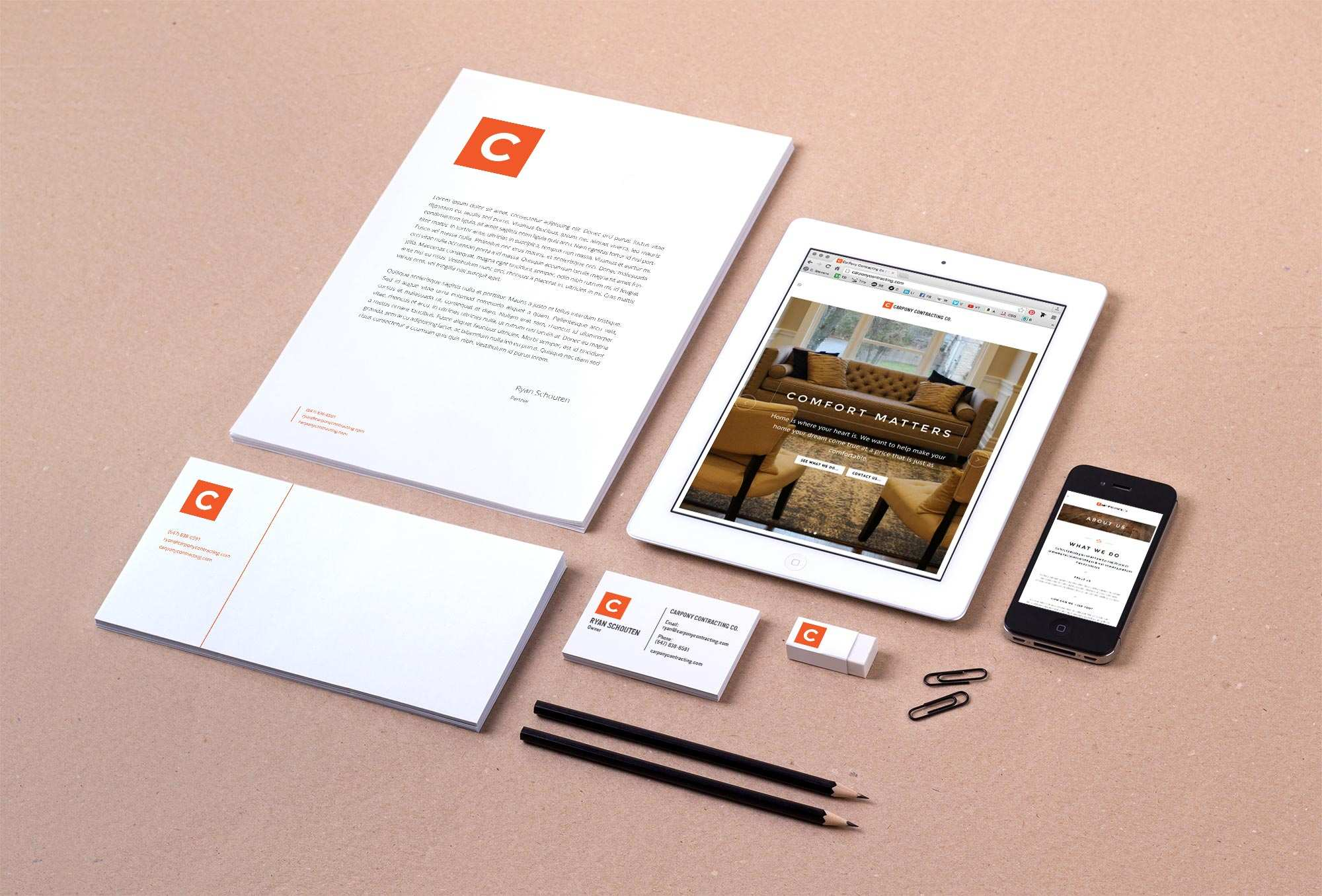 CarPony Contracting Co. stationery design by Cam Stevens